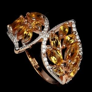 Marquise Cut Citrine .925 Sterling Silver Ring 7